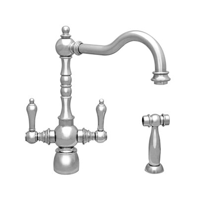 Englishhaus Double Handle Deck Mounted Standard Kitchen Faucet with Side Spray Finish: Chrome
