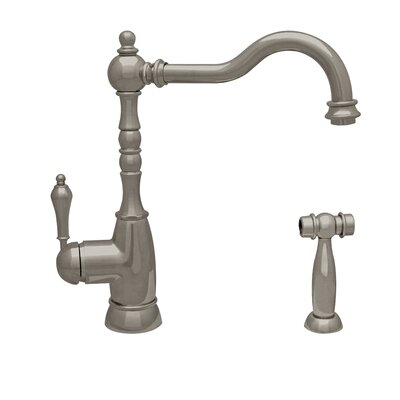 Englishhaus Single Handle Deck Mounted Standard Kitchen Faucet with Side Spray Finish: Brushed Nickel