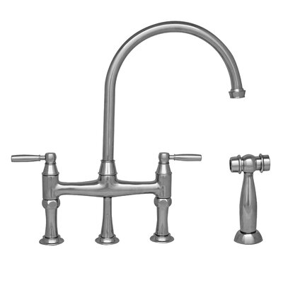 Queenhaus Double Handle Deck Mounted Kitchen Faucet with Side Spray Finish: Polished Nickel