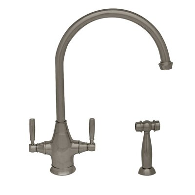 Queenhaus Double Handle Deck Mounted Standard Kitchen Faucet with Side Spray Finish: Brushed Nickel