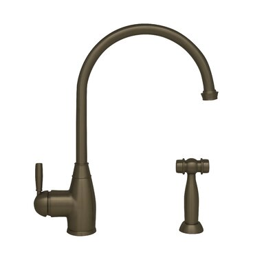 Queenhaus Single Handle Deck Mounted Standard Kitchen Faucet with Side Spray Finish: Brushed Nickel