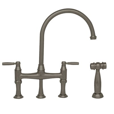 Queenhaus Double Handle Deck Mounted Kitchen Faucet with Side Spray Finish: Brushed Nickel