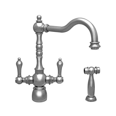 Englishhaus Double Handle Deck Mounted Standard Kitchen Faucet with Side Spray Finish: Polished Nickel