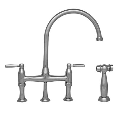 Queenhaus Double Handle Deck Mounted Kitchen Faucet with Side Spray Finish: Chrome