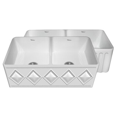 Diamondhaus 30 x 18 Double Bowl Kitchen Sink Finish: White