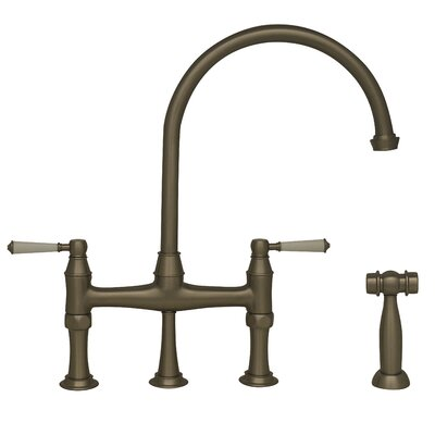 Queenhaus Double Handle Standard Kitchen Faucet with Side Spray Finish: Brushed Nickel