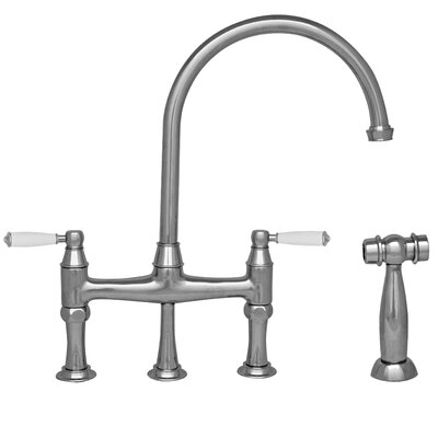 Queenhaus Double Handle Standard Kitchen Faucet with Side Spray Finish: Polished Chrome