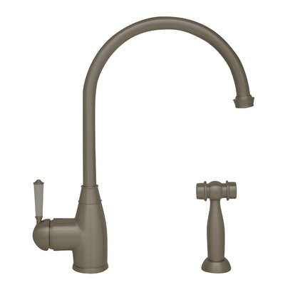 Queenhaus Single Handle Standard Kitchen Faucet with Side Spray Finish: Brushed Nickel