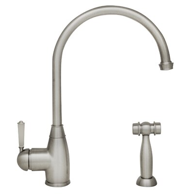 Queenhaus Single Handle Standard Kitchen Faucet with Side Spray Finish: Polished Nickel