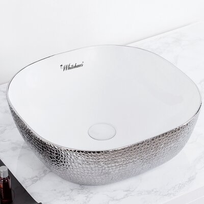 Isabella Plus Vitreous China Square Vessel Bathroom Sink Sink Finish: White/Silver