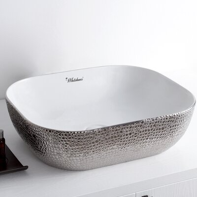 Isabella Plus Vitreous China Rectangular Vessel Bathroom Sink Sink Finish: White/Silver