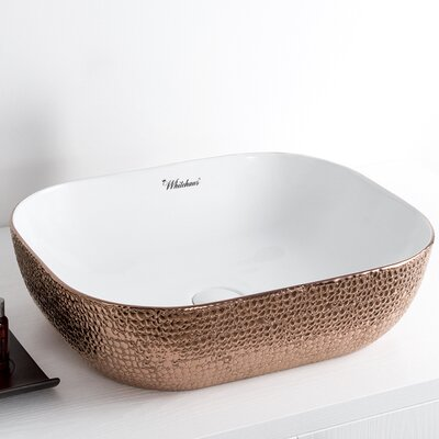 Isabella Plus Rectangular Vessel Bathroom Sink Sink Finish: White/Rose Gold