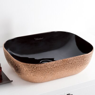 Isabella Plus Vitreous China Rectangular Vessel Bathroom Sink Sink Finish: Black/Rose Gold
