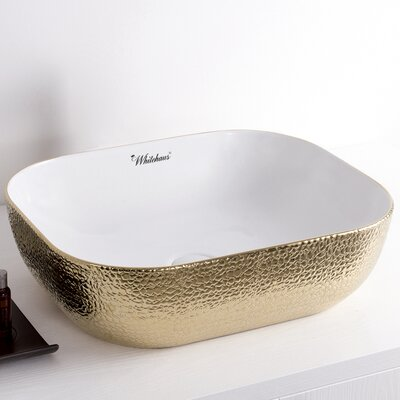 Isabella Plus Rectangular Vessel Bathroom Sink Sink Finish: White/Gold