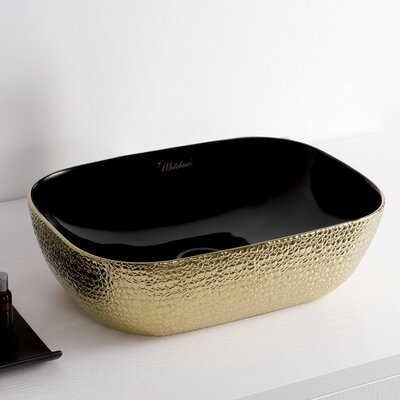 Isabella Plus Vitreous China Rectangular Vessel Bathroom Sink Sink Finish: Black/Gold