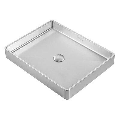 Noah Plus Metal Rectangular Vessel Bathroom Sink Sink Finish: Brushed Stainless Steel