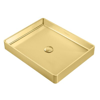 Noah Plus Metal Rectangular Vessel Bathroom Sink Sink Finish: Brass