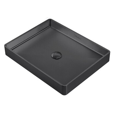 Noah Plus Metal Rectangular Vessel Bathroom Sink Sink Finish: Matte Black