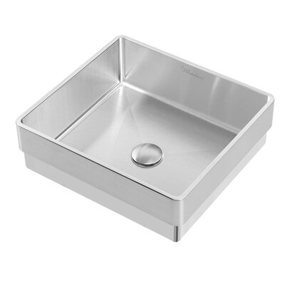 Noah Plus Metal Square Vessel Bathroom Sink Sink Finish: Brushed Stainless Steel