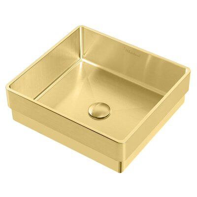 Noah Plus Metal Square Vessel Bathroom Sink Sink Finish: Brass