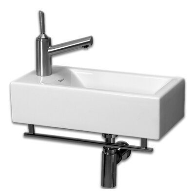 Isabella Ceramic 20 Wall Mount Bathroom Sink Faucet Mount: Left Hand