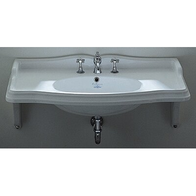 China Ceramic 36 Wall Mount Bathroom Sink with Overflow Size: 36 L, Faucet Mount: 8 Centers