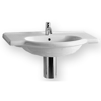 China 35.2 Wall Mount Bathroom Sink with Overflow Size: 35 L