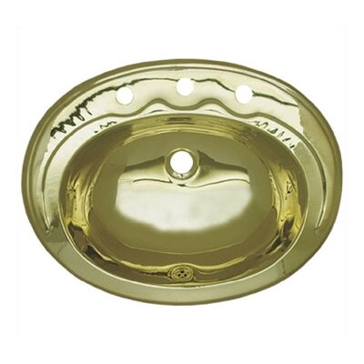 Decorative Metal Oval Drop-In Bathroom Sink with Overflow Sink Finish: Polished Brass