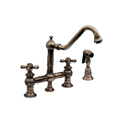 Vintage III Cross Handle Widespread Kitchen Faucet with Traditional Swivel Spout, Cross Handle and Side Spray Finish: Antique Copper