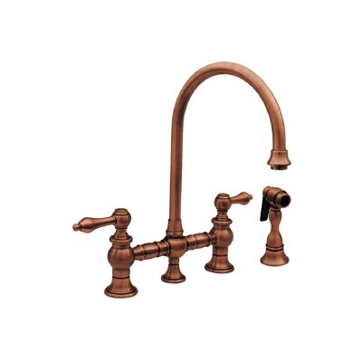 Vintage III Two Handle Widespread Kitchen Faucet with Gooseneck Swivel Spout, Lever Handles and Side Spray Finish: Antique Copper