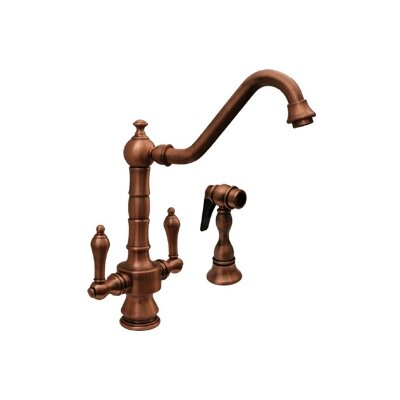 Vintage III Two Handle Single Hole Kitchen Faucet with Long Traditional Swivel Spout with Side Spray Finish: Antique Copper