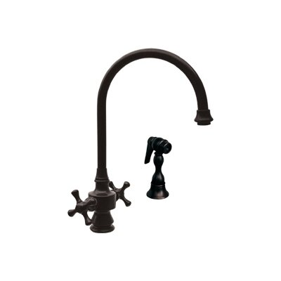 Vintage III Two Dual Handle Single Hole Kitchen Faucet with Cross Handle and Side Spray Finish: Oil Rubbed Bronze