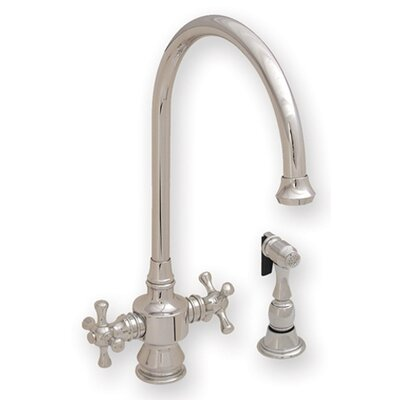 Vintage III Two Dual Handle Single Hole Kitchen Faucet with Cross Handle and Side Spray Finish: Polished Chrome