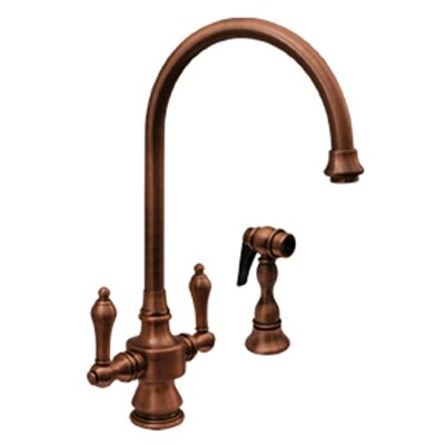 Vintage III Two Handle Single Hole Kitchen Faucet with Lever Handle and Side Spray Finish: Antique Copper