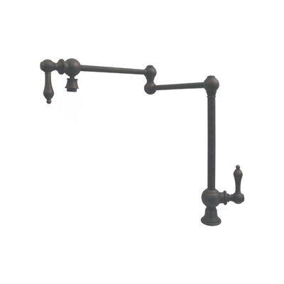 Vintage III Patented Deck Mount Two Handle Single Hole Pot Filler Faucet with Cross Handles and a Swivel Aerator Finish: Oil Rubbed Bronze