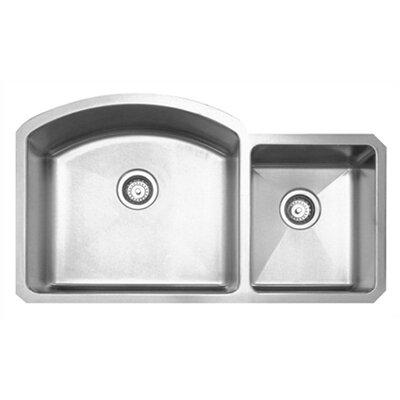 """Whitehaus Collection Noah's 36.88"""" x 20.88"""" Chefhaus Double Bowl Undermount Kitchen Sink"""