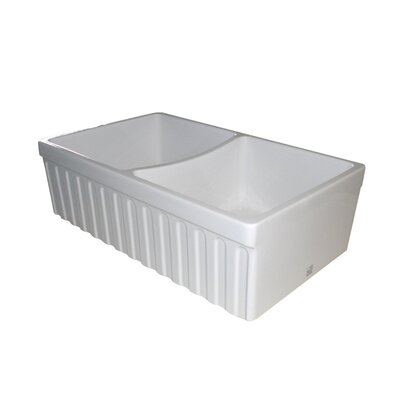 FarmhausQuatro 33 x 20 x 10 Double Bowl Farmhouse Kitchen Sink Finish: Biscuit