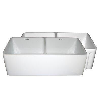 Farmhaus 33 x 18 x 10 Double Bowl Farmhouse Kitchen Sink Finish: White