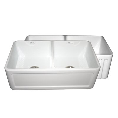 Farmhaus 33 x 18 Double Bowl Farmhouse Kitchen Sink Finish: Biscuit