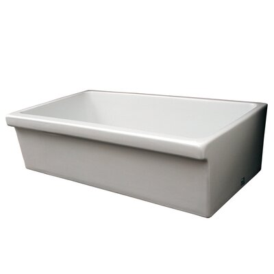 Farmhaus Fireclay 35.5 x 20 Large Quatro Alcove Reversible Fireclay Kitchen Sink Finish: White