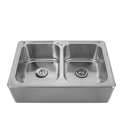 Noahs 33 x 22 Front - Apron Double Bowl Drop In Kitchen Sink Faucet Drillings: No Hole