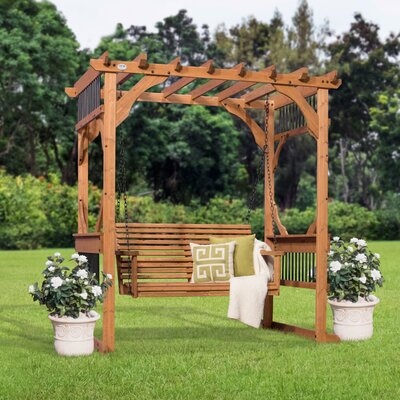 Deluxe 7 Ft. W X 5.5 Ft. D Solid Wood Pergola