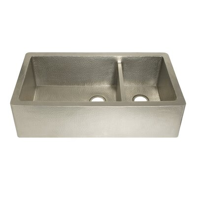Farmhouse 40 x 22 Duet Pro Copper Kitchen Sink Finish: Brushed Nickel
