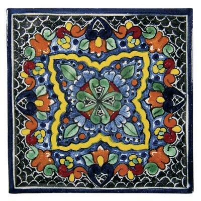 Quatrefoil 6 x 6 Hand Painted Talavera Tile Size: 6 x 6