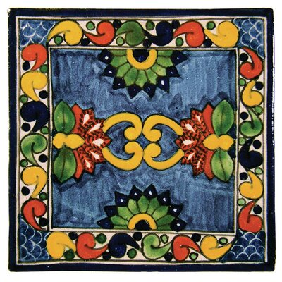 4 x 4 Asters Hand Painted Talavera Tile