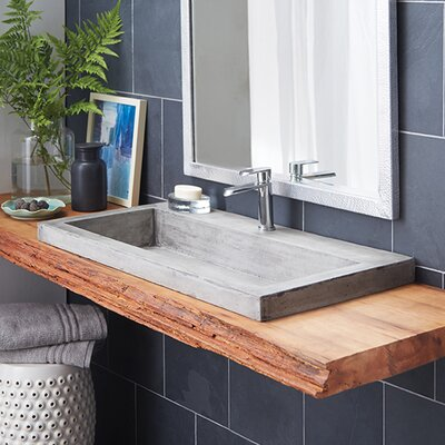 Trough Stone Rectangular Drop-In Bathroom Sink