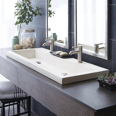 Trough Stone 48 Trough Bathroom Sink Sink Finish: Pearl