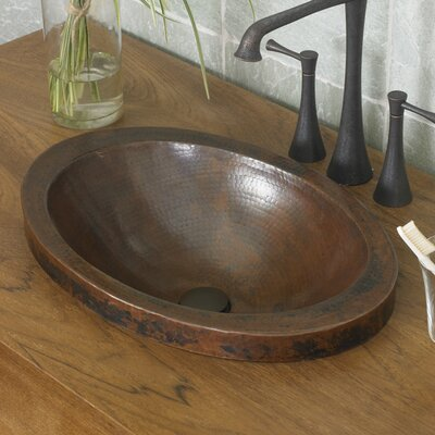 Hibiscus Metal Oval Drop-In Bathroom Sink