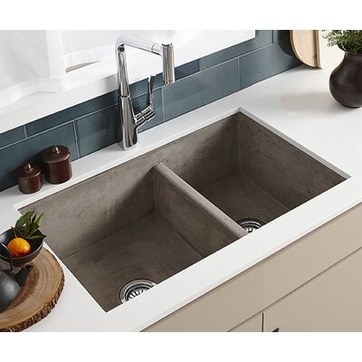 Farmhouse 33 x 21 Double Bowl Kitchen Sink Finish: Ash