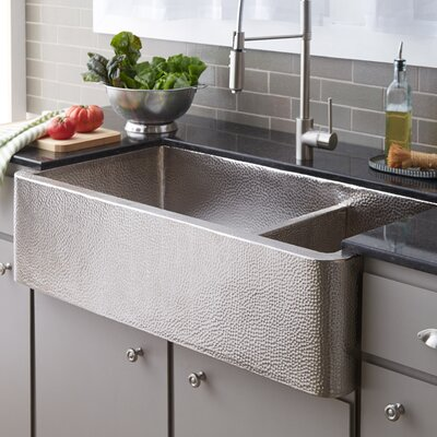 40 x 22 Double Basin Farmhouse Kitchen Sink Finish: Brushed Nickel